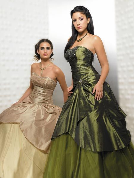 green strapless tiered ball gown