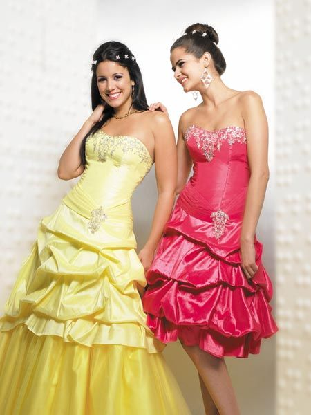 yellow pick up prom dress