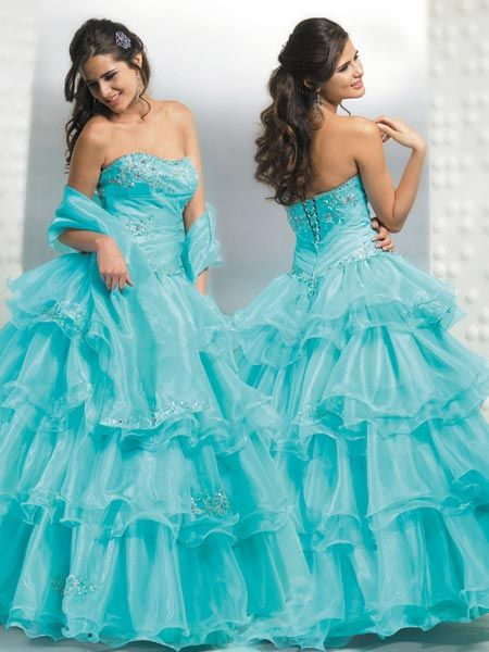 Aqua Quinceanera Ball gowns