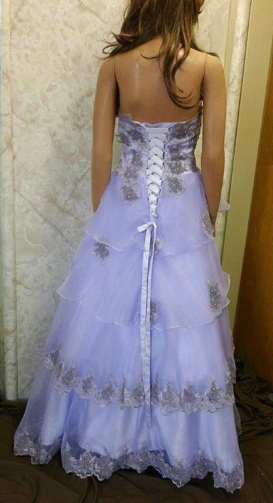 tiered orchid prom dress