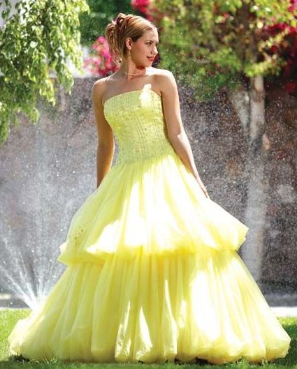 Lemon yellow strapless dress