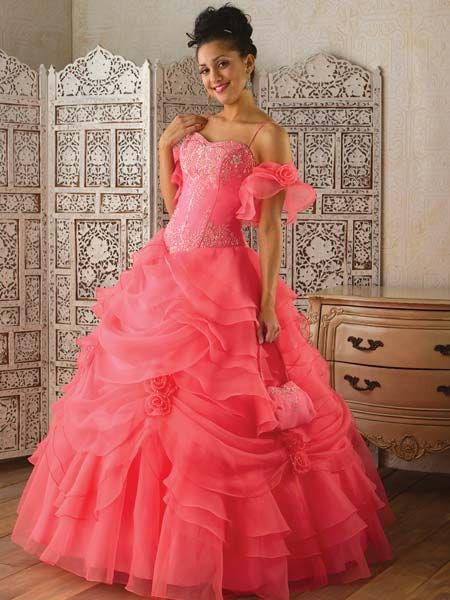 Fuchsia off shoulder quinceanera ball gown