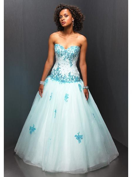 white and blue sweet sixteen dress