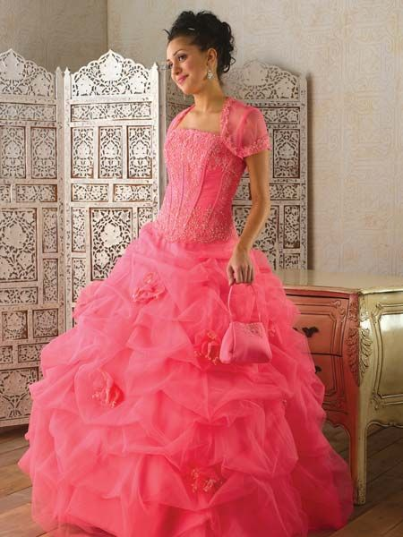 Fuchsia quinceanera ball gown