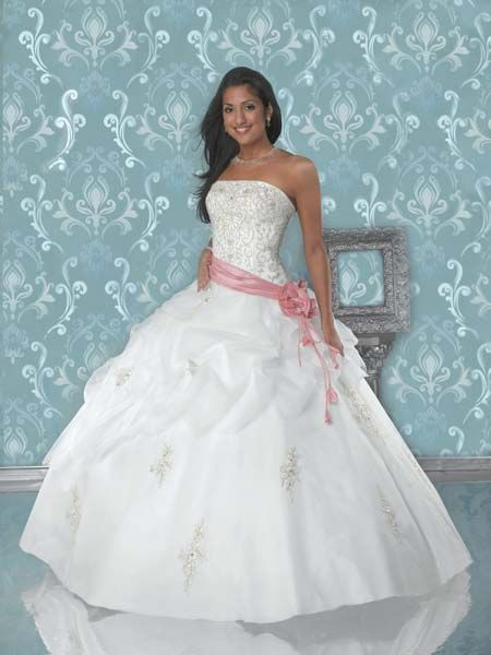 ivory and pink ball gown