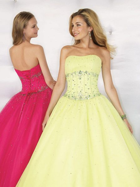 strapless formal in Cerise and Lime