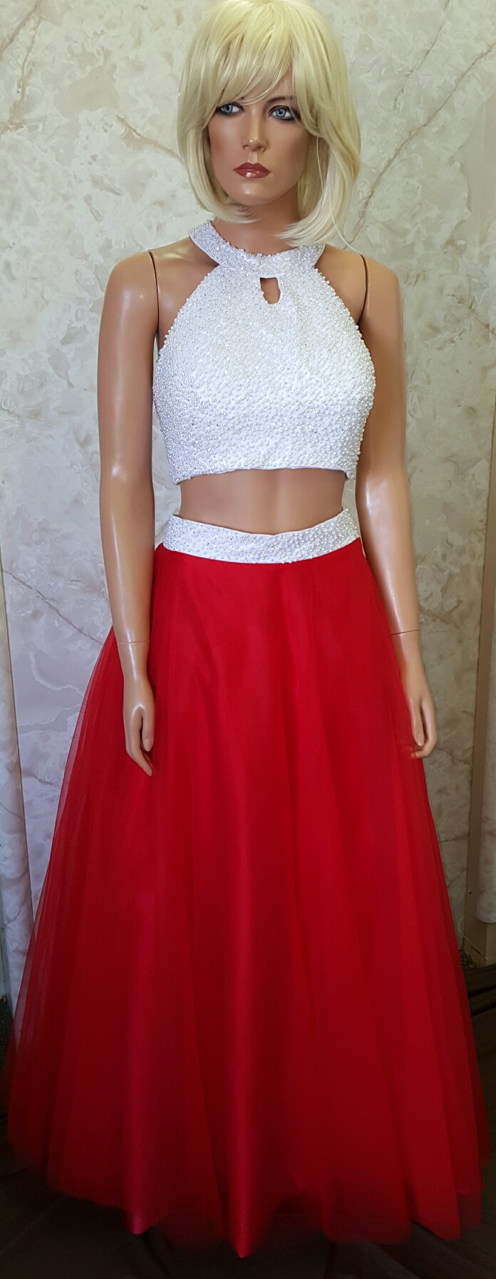red and white crop top prom dress