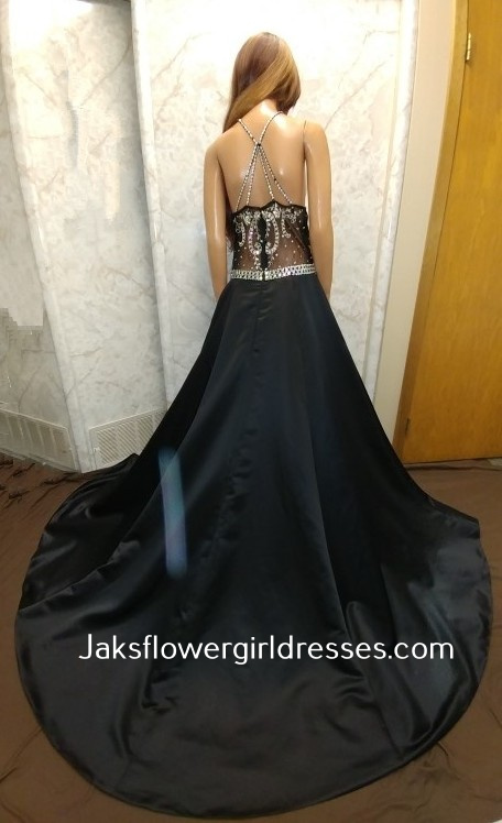 black evening gowns with jewel strap back