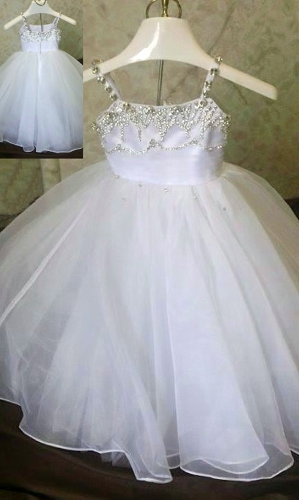 Rhinestone beaded princess infant wedding dress