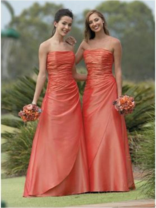 long strapless orange bridesmaid dresses