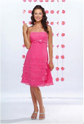 pink bridesmaid dresses strapless short