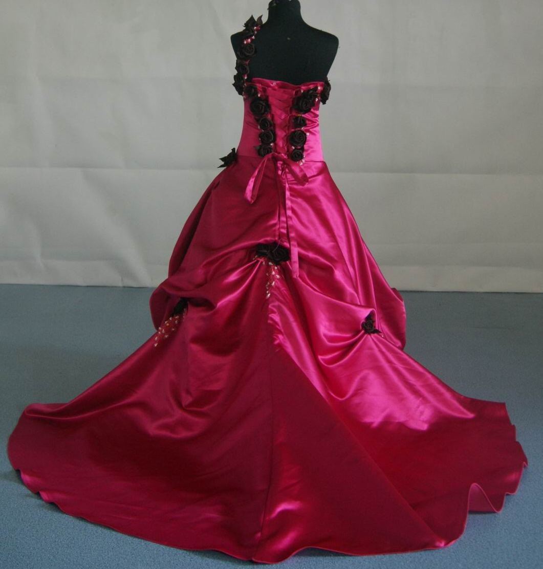 Watermelon ball gown with chocolate roses