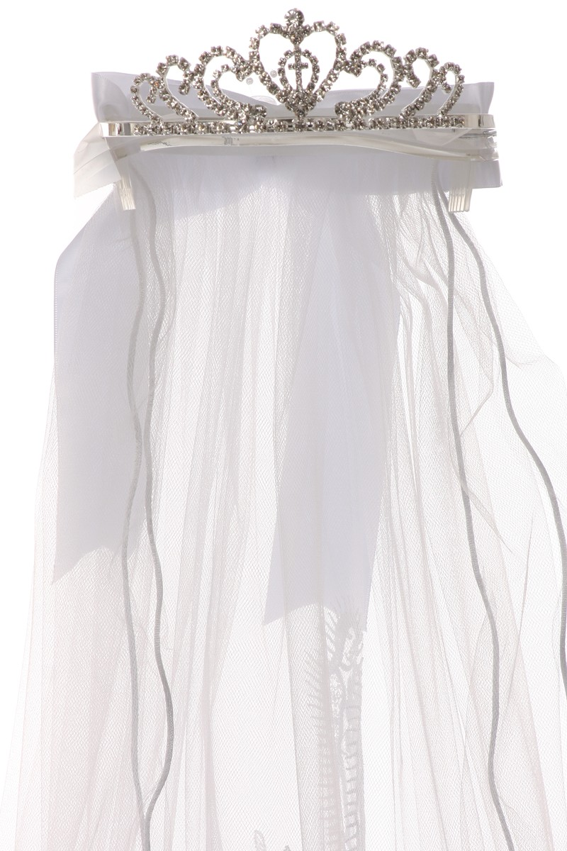 White First Communion Maria Veil With Tiara