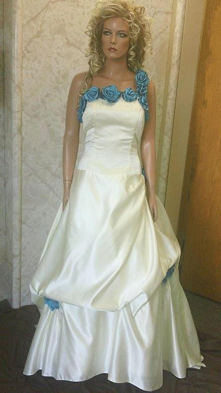turquoise champagne wedding gown