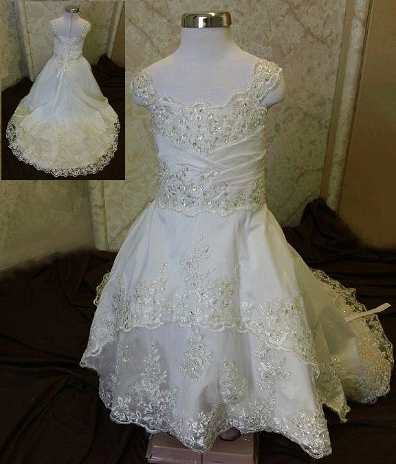 Applique lace toddler flower girl dresses