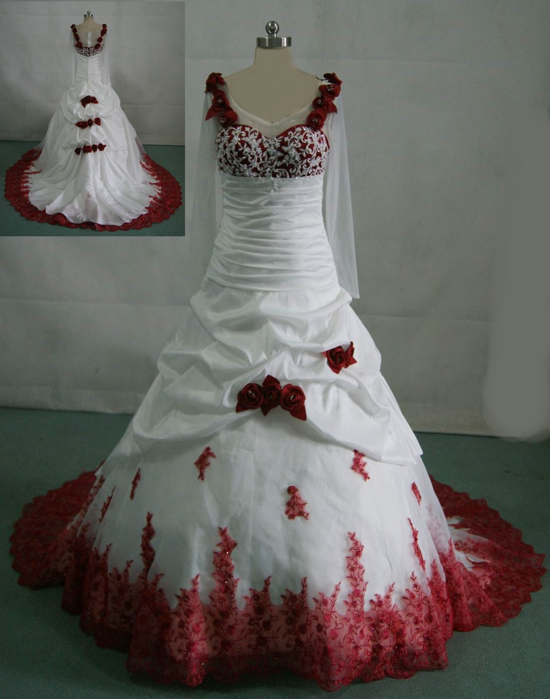 white and red wedding gown