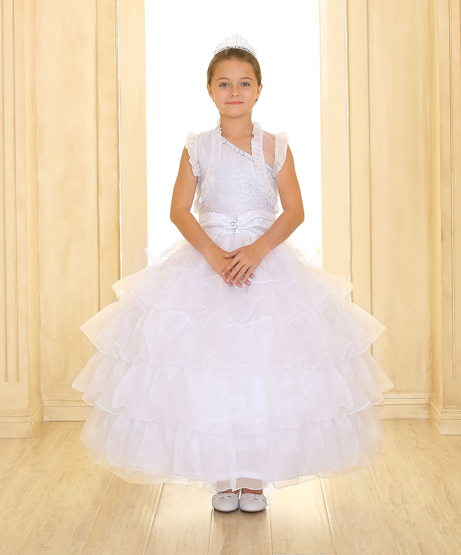white one shoulder pageant dresses for girls