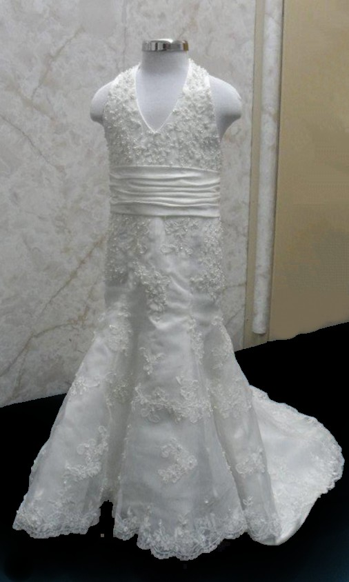 A line halter lace flower girl mini bride gown