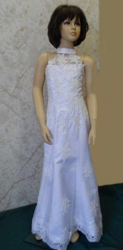 A line halter lace flower girl gown