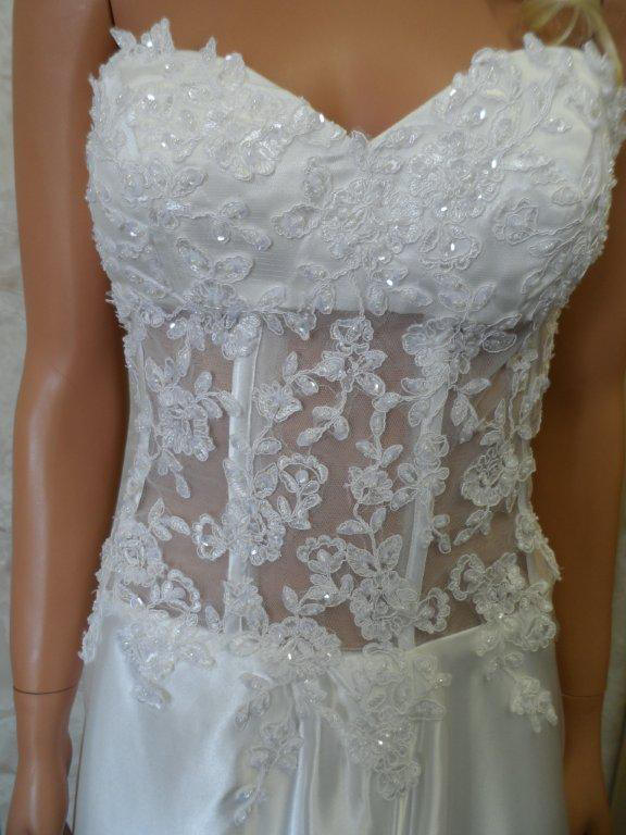 silk light ivory see through bodice wedding gown