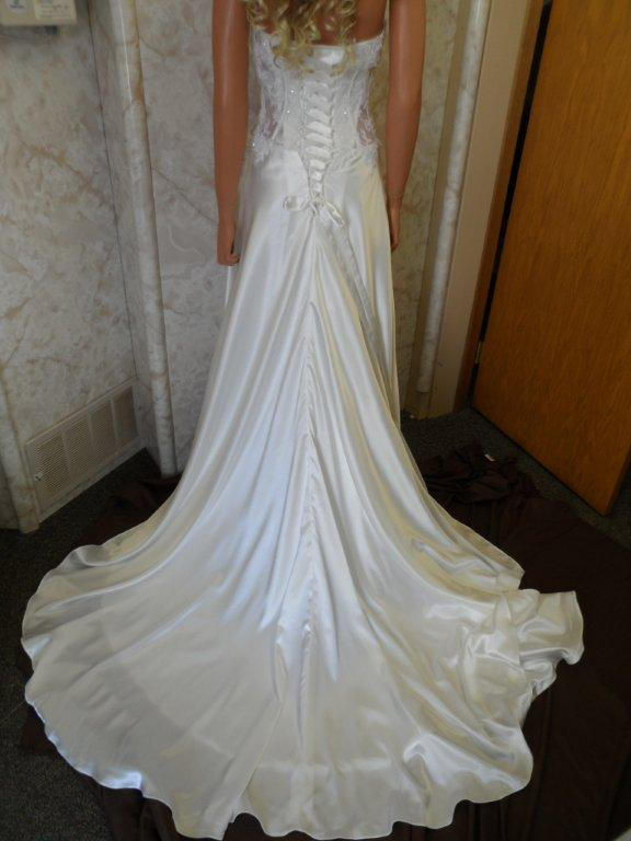 corset tie back wedding gown