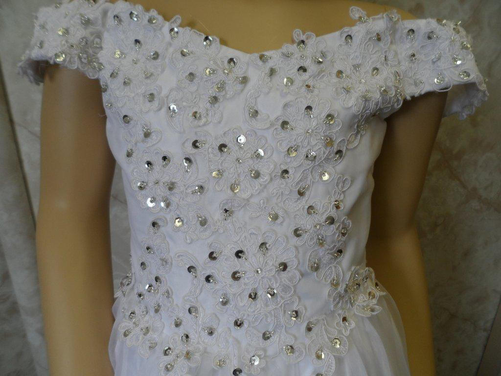 white off the shoulder pageant gown