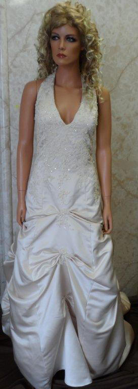 Low v neck halter champagne wedding gown