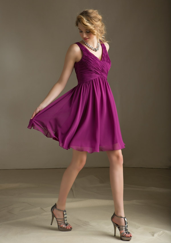 Short Chiffon Dress with Ruched bodice