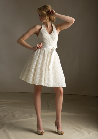 short lace halter bridesmaid dress