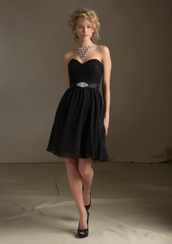 black bridesmaids cocktail dress