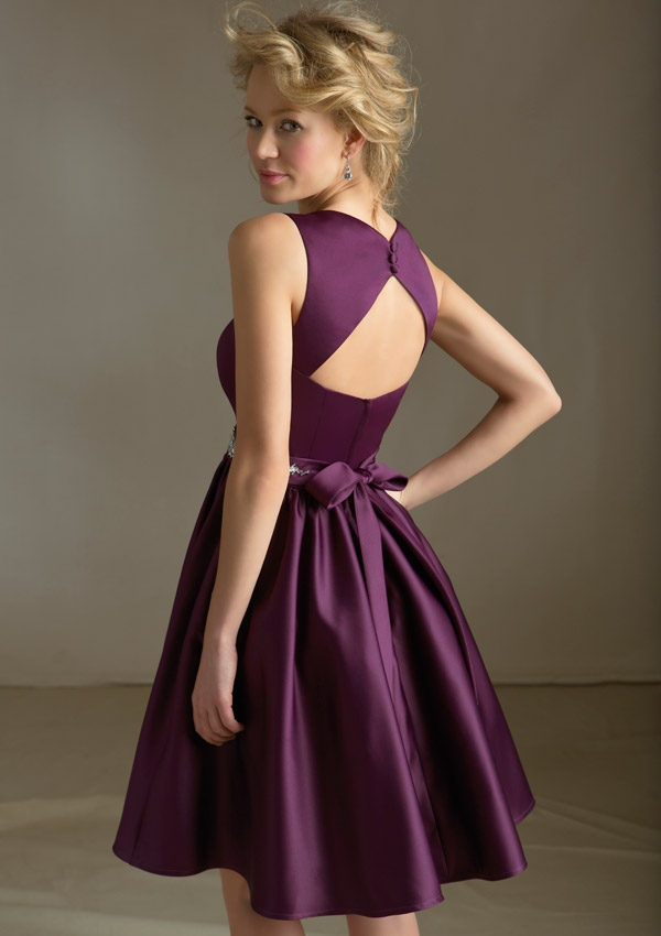 Short Purple Bridesmaid Dress With Sash