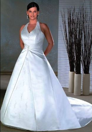 plus size halter wedding dress