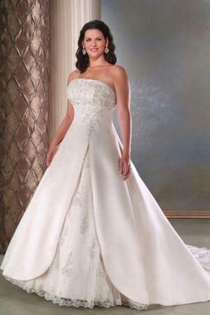 plus size strapless wedding dress