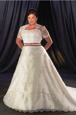 Cheap plus size white and red wedding dress