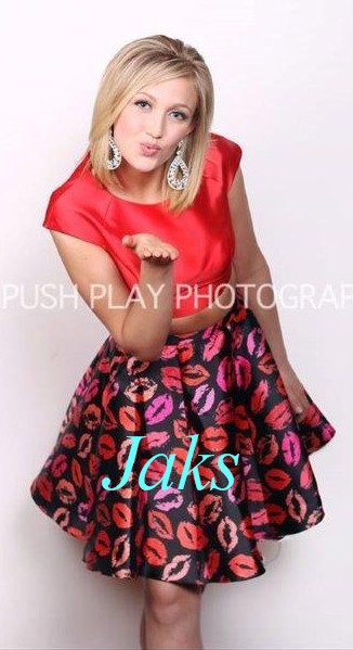 midriff top with kiss skirt