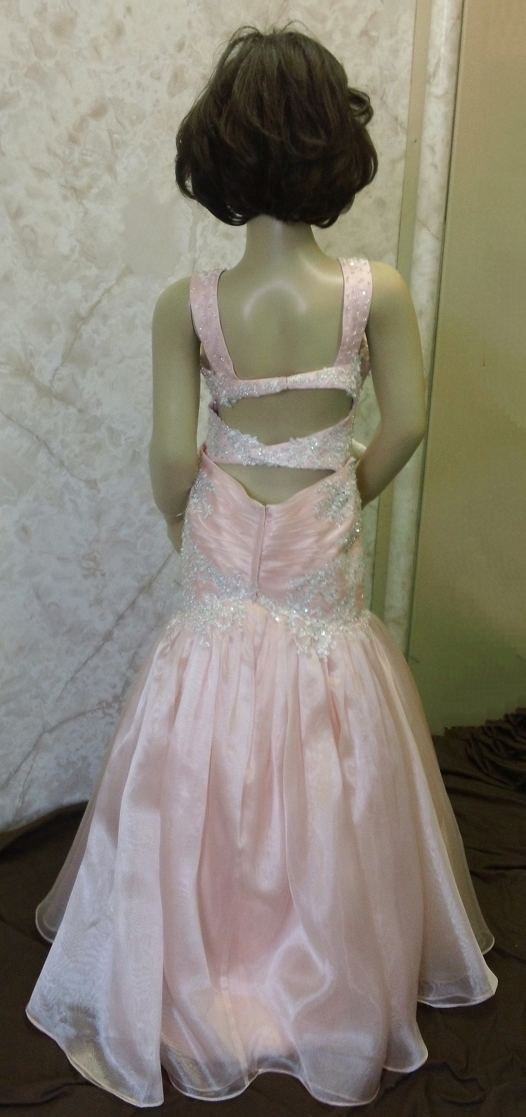 pink mermaid pageant dress with open back