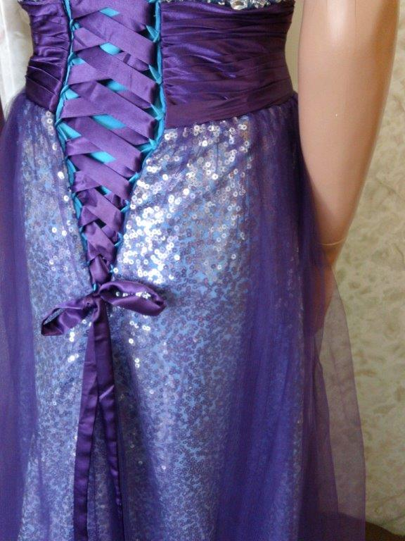 grape and turquoise come together on corset lace back