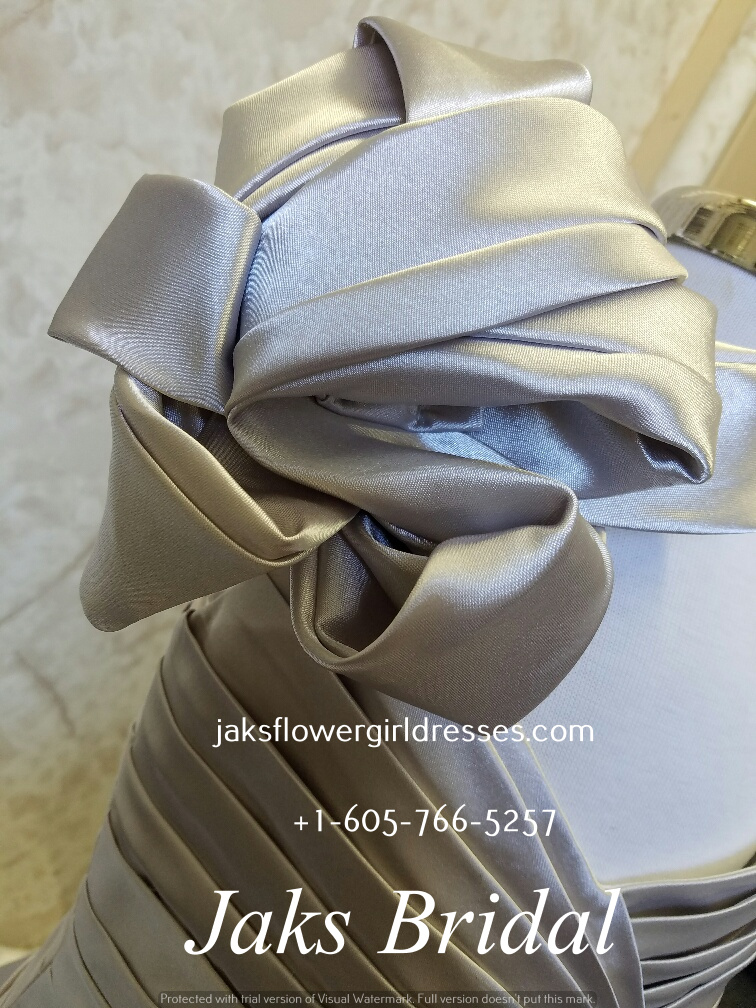 Silver One Shoulder Ruffle