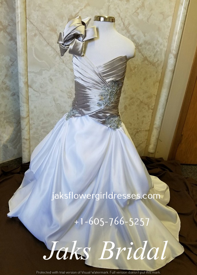 Silver and white flower girl dress