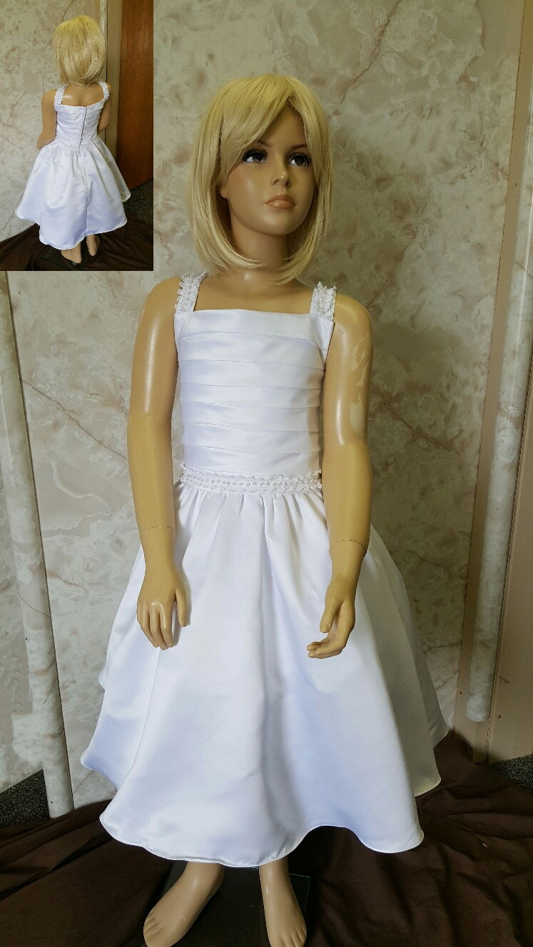square neck flower girl dress