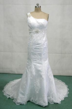 One shoulder white empire waist wedding dresses