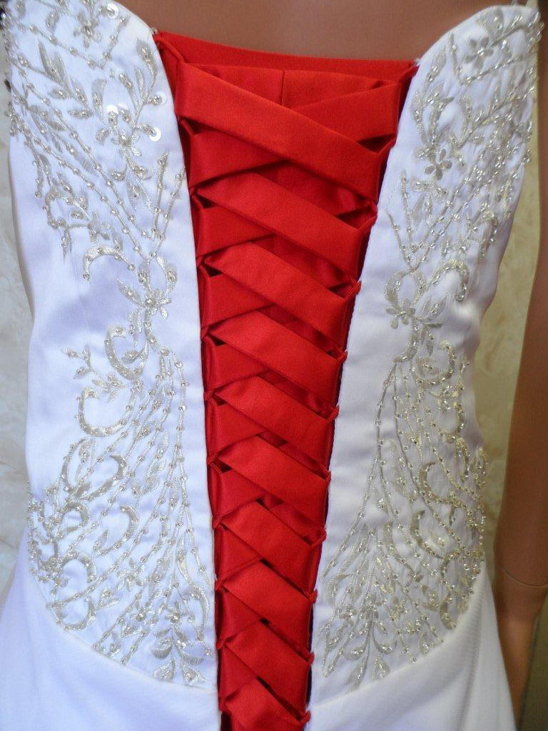 Red corset lace up bridal gown