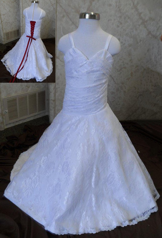 sweetheart miniature bridal gown with red corset ties