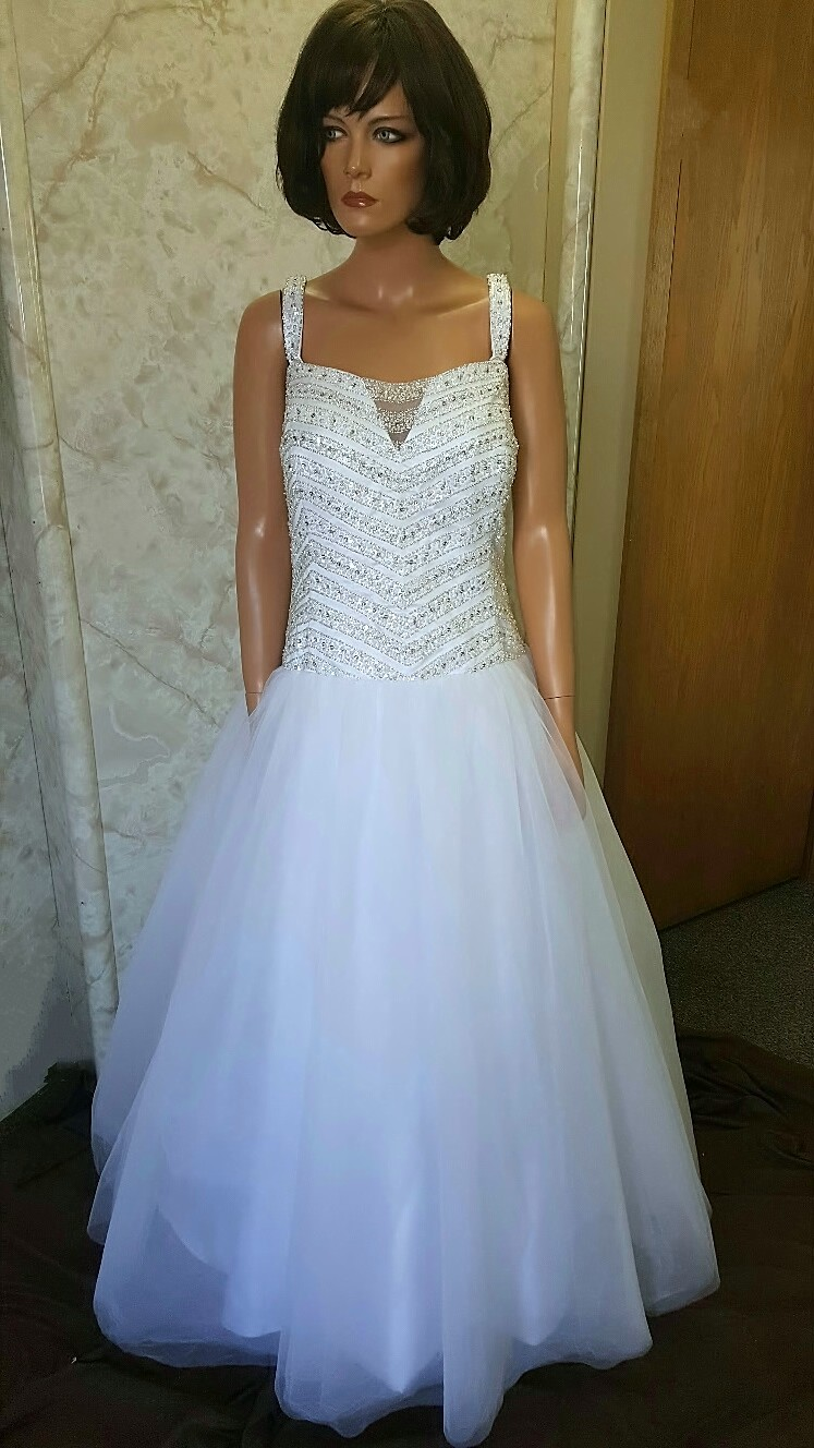 Long white wedding reception dress