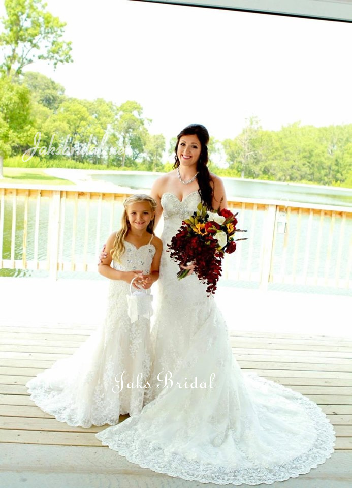 bride and matching flower girl dresses