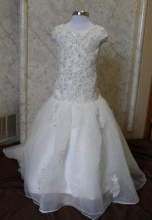 organza appliqued cap sleeve flower girl dress