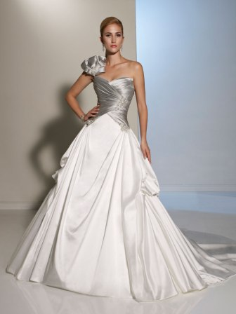 silver and white bow shoulder wedding gown