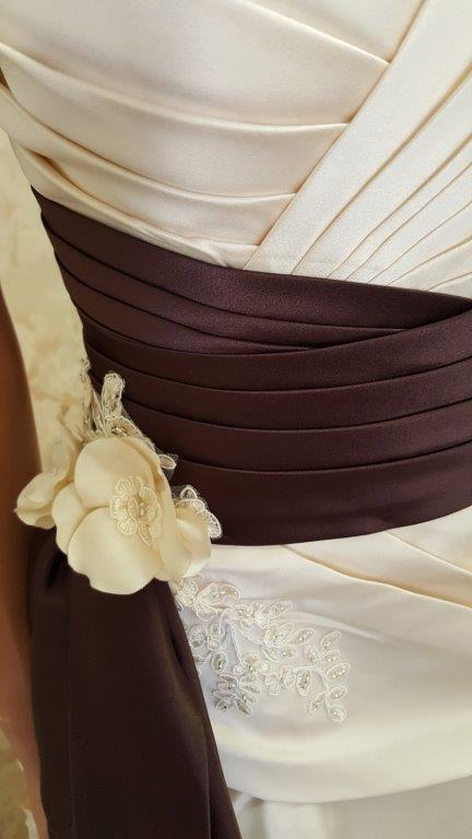 champagne and chocolate wedding gown