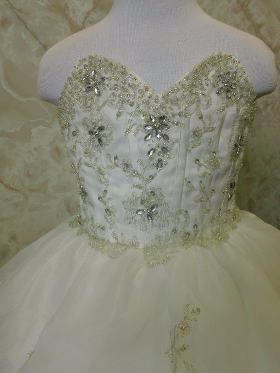 Jewel encrusted corset bodice with metallic accents