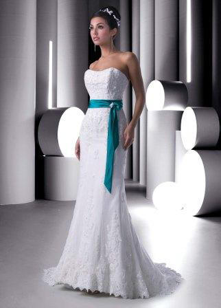 Lace Mermaid Wedding gown with turquoise sash